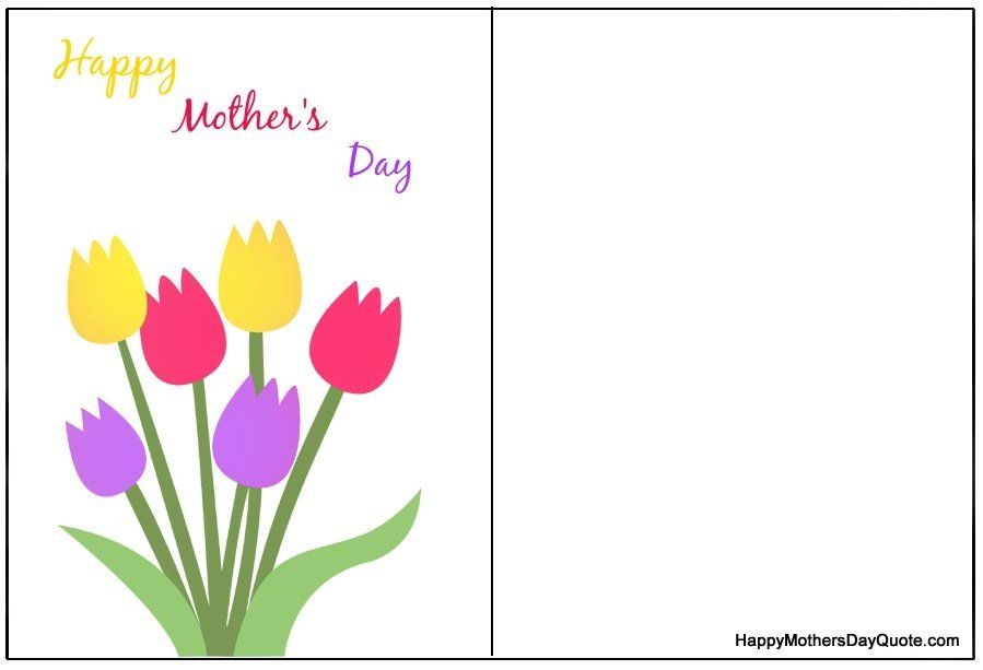 Both Side Printable Mothers Day Card with Flowers