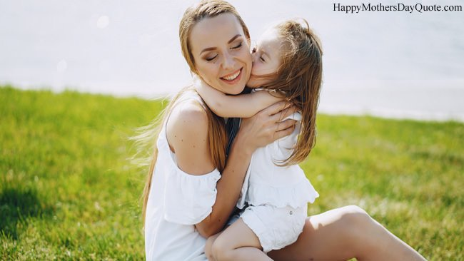 Cute Girl Kissing to Her Mother