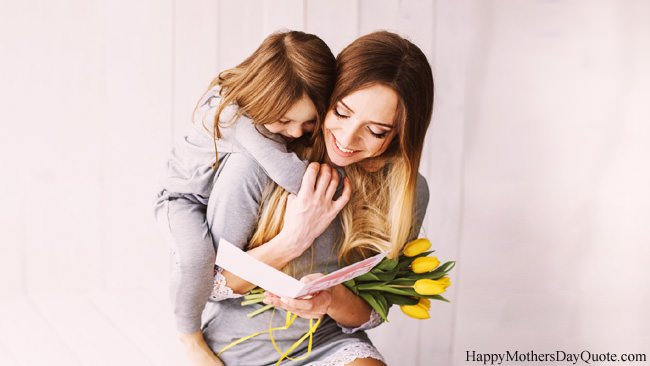 Mom Daughter Hug with Yellow Flower