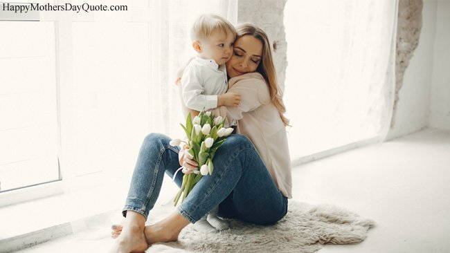 Mom Hug to Son with White Flowers