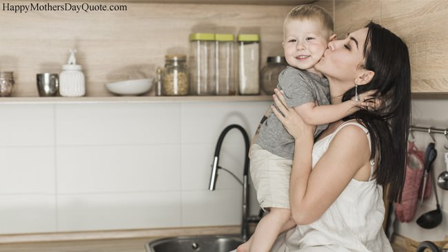 Mom Kissing Her Son in Kitchen