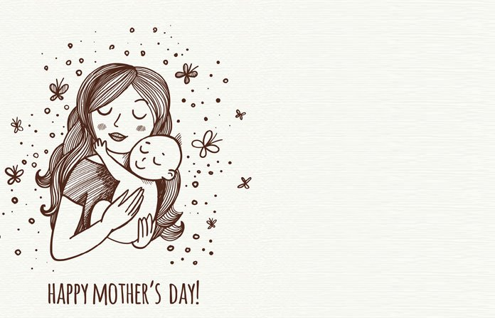 Mother and Kids Printing Card