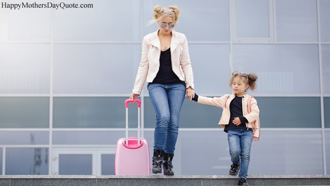 Stylish Modern Daughter Mother with Shopping Travel Bag
