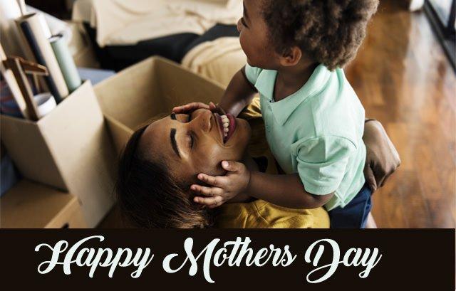 Happy Black Mother Son