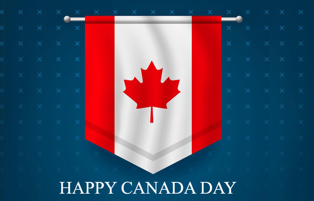 Happy Canada Day with Canadian Flag Photo