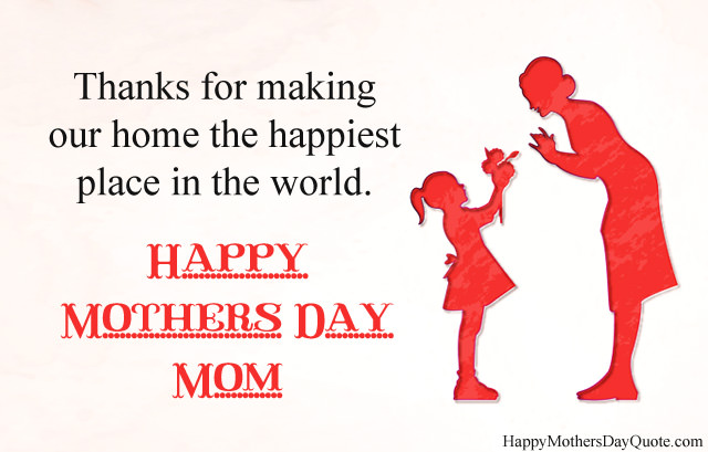 Thanks on Mothers Day To Mom From Daughter